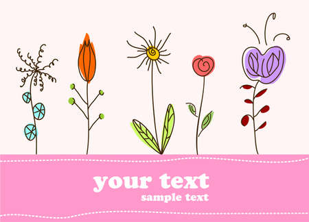 Children gift card flower background. illustration Illustration