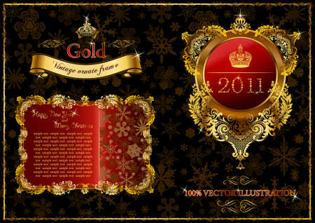 Christmas golden ornate frames 2011. illustration Vector