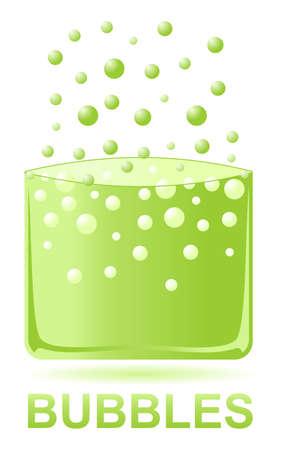 soda splash: green water bubbles. illustration