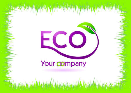 eco grass frame isolated in white. illustration Stock Vector - 7997835