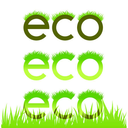 Grassy ecological emblem isolated in white illustration Vector