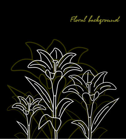floral background Lily black.  wallpaper Stock Vector - 7997737