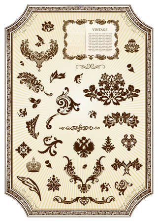 Floral vintage royal design element.  illustration