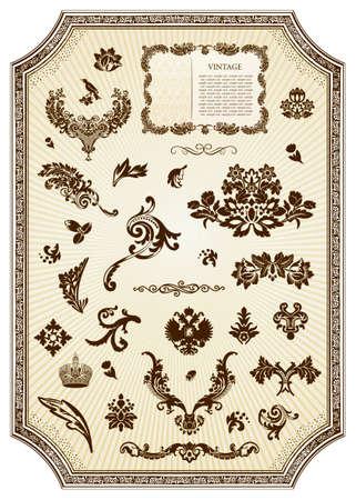 Floral vintage royal design element.  illustration