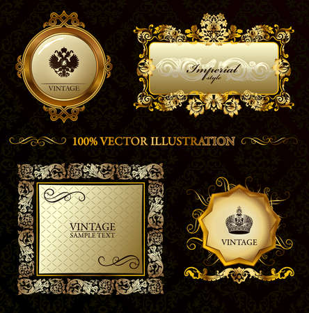 Glamour vintage gold frame decorative background. illustration Illustration