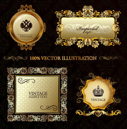 vintage gold frame: Glamour vintage gold frame decorative background. illustration Illustration