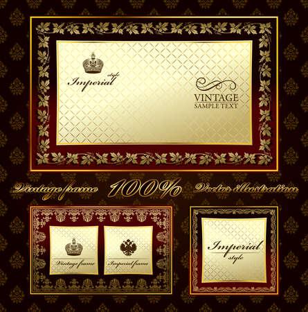 vintage gold frame: Glamour vintage gold frame decorative ornament.  illustration