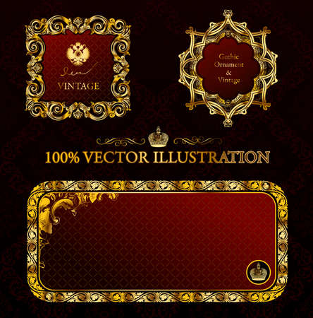 Glamour vintage gold frame decorative red black. illustration