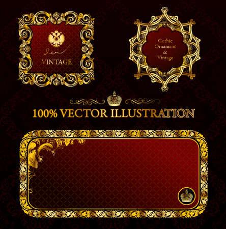 baroque ornament: Glamour vintage gold frame decorative red black. illustration