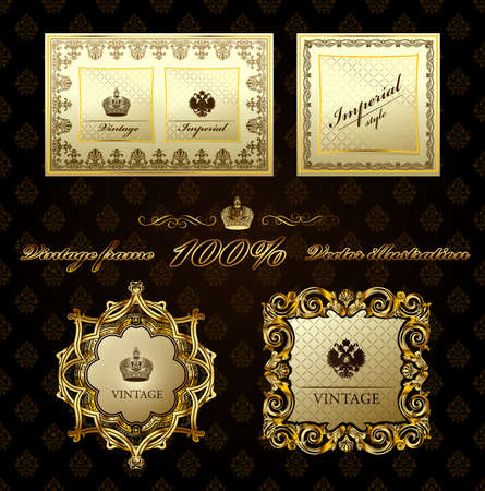 Glamour vintage gold frame decorative.  illustration