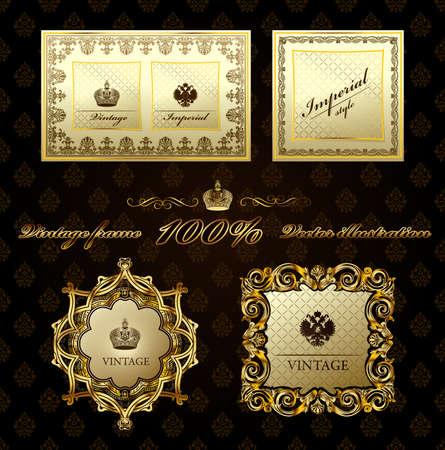 Glamour winobrania złota ramki dekoracyjne.  Ilustracja