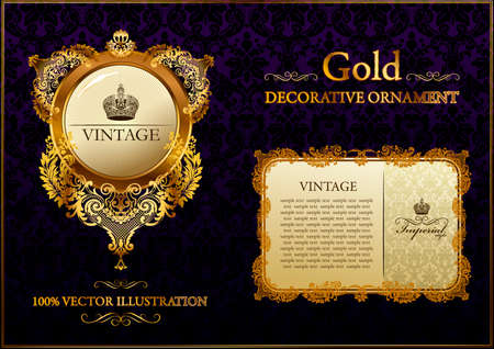 gold vintage decorative ornament illustration Vector