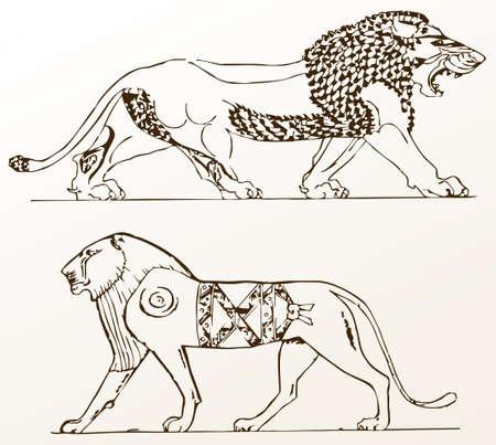 heraldyczny ozdoba zwierzÄ…t lwy starych odizolowane white.illustration Ilustracja