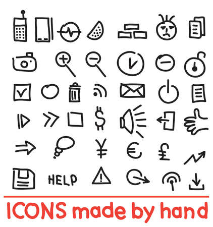 set icons made by hand. illustration Vector