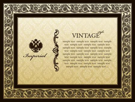 Cesarskiej ozdoba ramy dekoracyjne winobrania - abstrakcyjna tła Ilustracja
