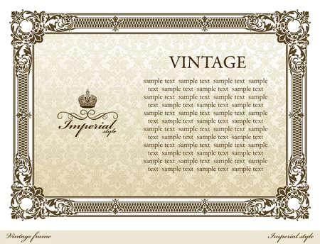 Medieval vintage decorative ornament frame brown.  illustration