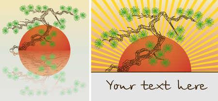 Fabriek in pot pijn bonsai boom. illustratie