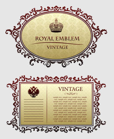 Red ancient decorative frameworks illustration Illustration