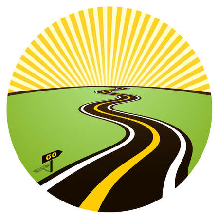 Road to solar horizon. illustration Stock Vector - 7997738