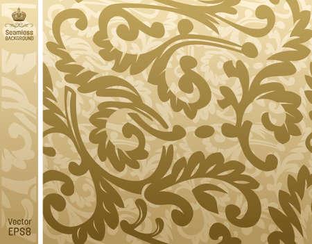 seamless background floral beige.  illustration Vector