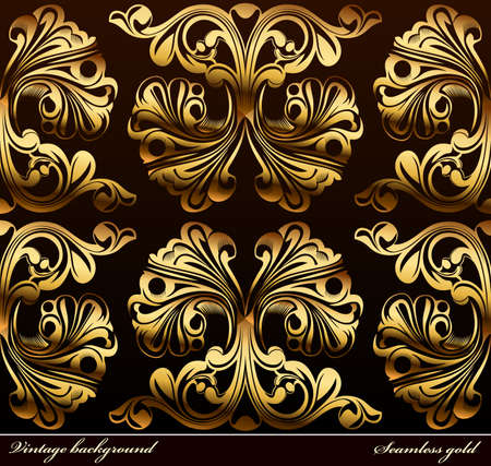 Seamless background Medieval Ornament gold. illustration Vector