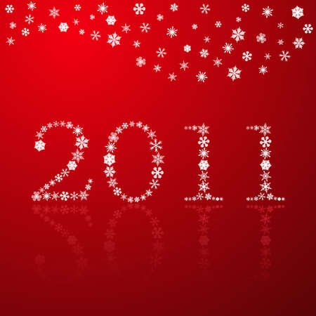 Snowflakes happy new year 2011 red illustration Vector