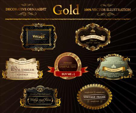 imperial: vintage set. Gold frames decorative label illustration Illustration
