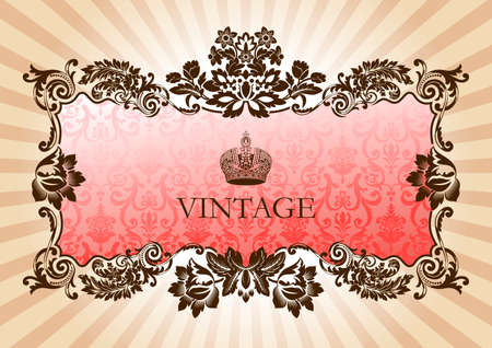 Vintage glamour frame red illustration Illustration