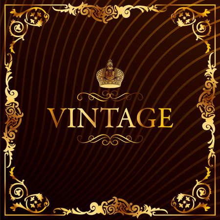 vintage gold frame: Vintage gold frame decorative background. illustration