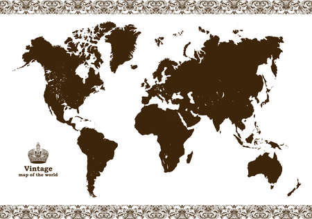 Vintage map of the world frame. illustration Illustration