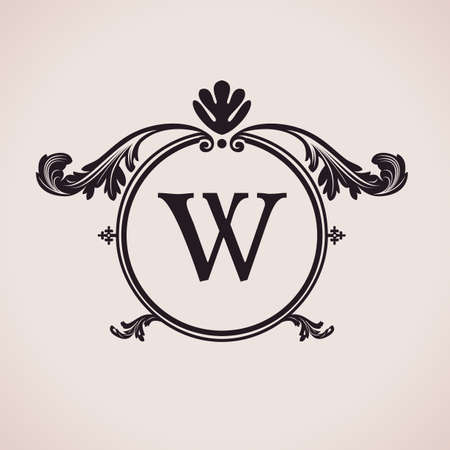 Luxury logo letter clock. Calligraphic pattern elegant decor elements. Vintage vector ornament W Vector