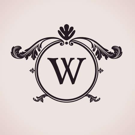 Luxury logo letter clock. Calligraphic pattern elegant decor elements. Vintage vector ornament W