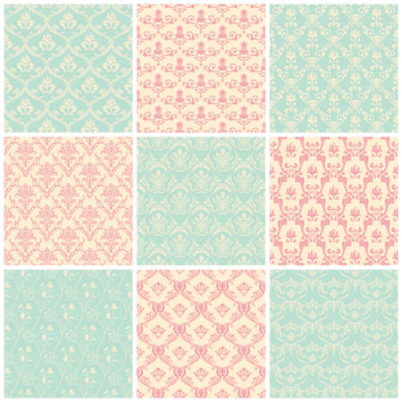 seamless damask: Backgrounds set. Seamless wallpaper floral vintage pastel colors