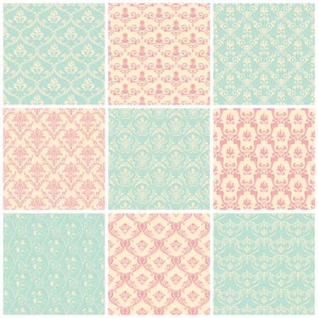 patrones de flores: Conjunto de fondos. Colores pastel del vintage floral Papel pintado inconsútil Vectores