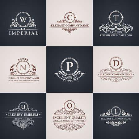 insignias: Establece logo de Lujo. Patrón Elementos caligráficos elegantes decoración. Vector del ornamento de la vendimia