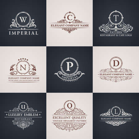 Luksusowy zestaw logo. Kaligraficzne elementy wystroju elegancki wzór. Vintage ornament wektor