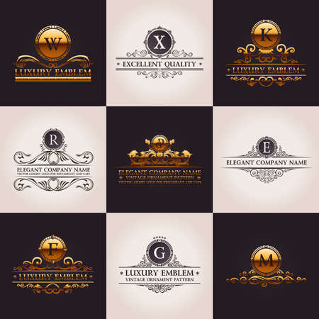 boutiques: Luxury logo set. Calligraphic pattern elegant decor elements. Vintage vector gold ornament Illustration
