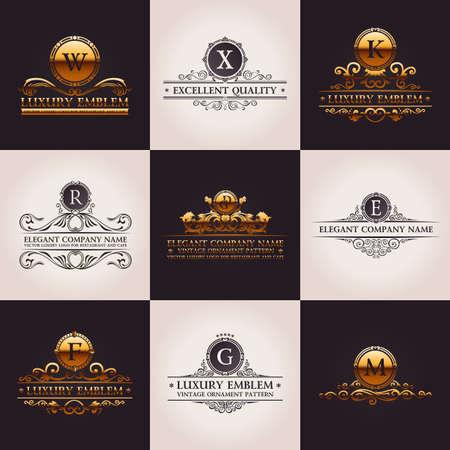 Luxury logo set. Calligraphic pattern elegant decor elements. Vintage vector gold ornament Иллюстрация