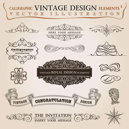 сбор винограда: Каллиграфические элементы старинные набор Поздравление лента. Вектор кадр орнамент