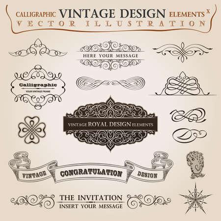 年代物: カリグラフィ要素ヴィンテージは、お祝いのリボンを設定します。ベクトル フレーム飾り