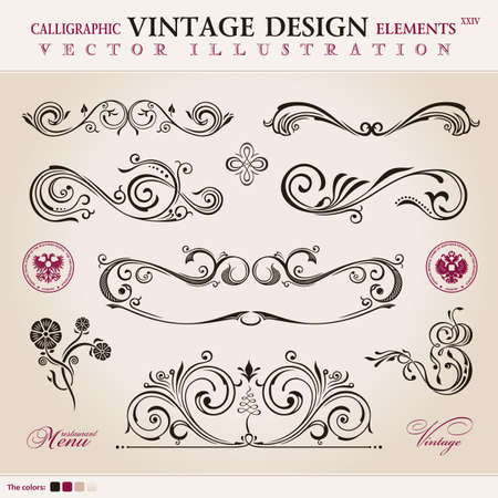 decorative border: Vector set classic. Calligraphic design elements ornament decoration retro