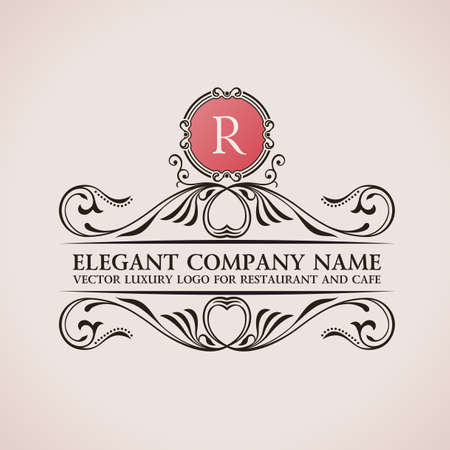 Luxury logo. Calligraphic pattern elegant decor elements. Vintage vector ornament R