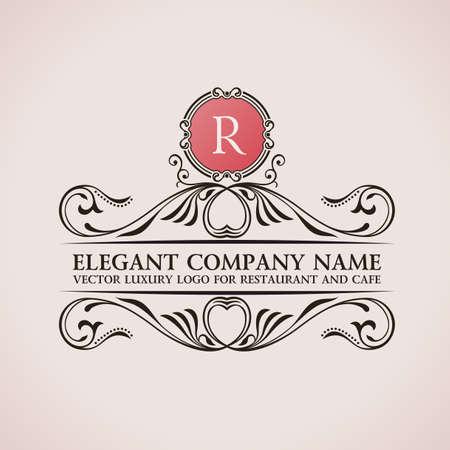 Luksusowe logo. Kaligraficzne elementy wystroju elegancki wzór. Vintage ornament wektor R