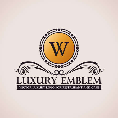 Luxury logo. Calligraphic pattern elegant decor elements. Vintage vector ornament W