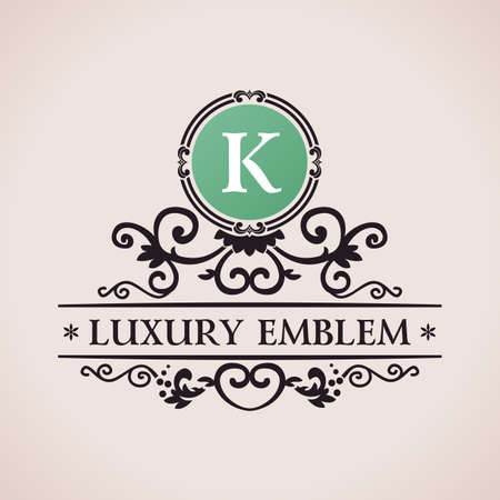 Luxury logo. Calligraphic pattern elegant decor elements. Vintage vector ornament K Vettoriali