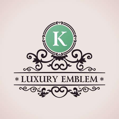 Luxury logo. Calligraphic pattern elegant decor elements. Vintage vector ornament K Vectores