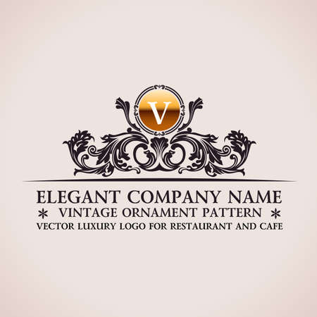 Luxury logo. Calligraphic pattern elegant decor elements. Vintage vector ornament V