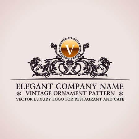 Luxury logo. Calligraphic pattern elegant decor elements. Vintage vector ornament V 版權商用圖片 - 40022101