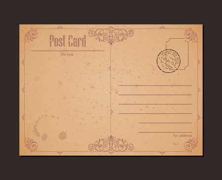 Vintage postcard and postage stamp. Design envelopes and letter