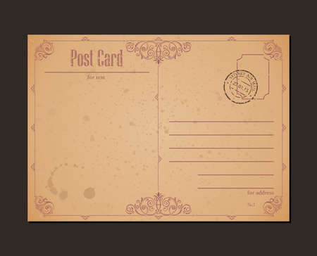 Vintage briefkaart en postzegel. Ontwerp enveloppen en brief